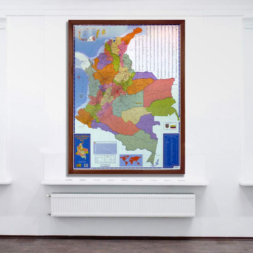 Mapa De Colombia politico marco madera