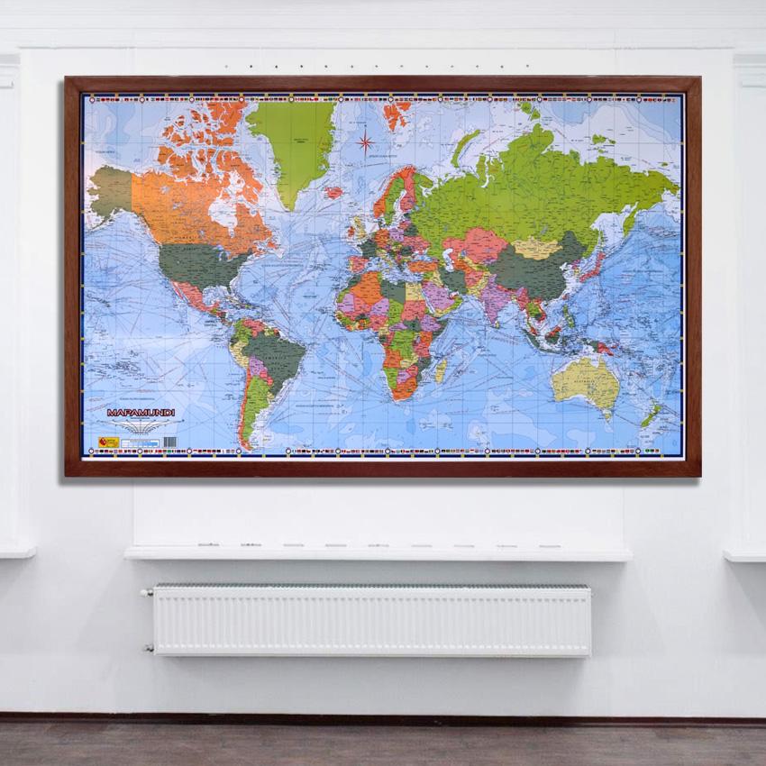 Mapamundi Político marco madera