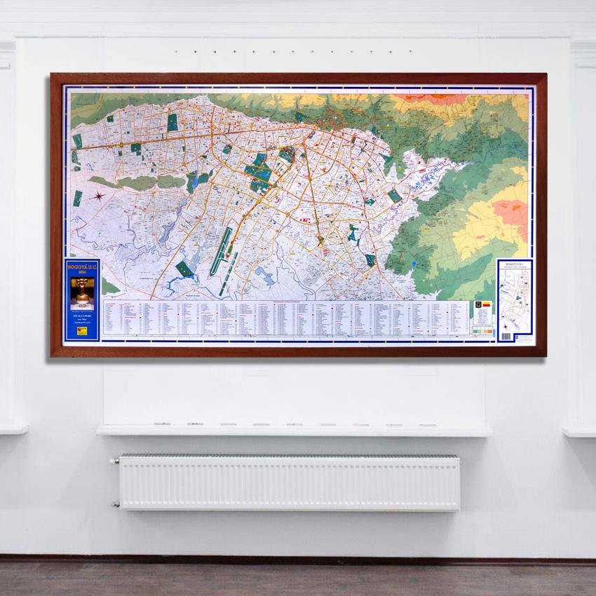 Plano De Bogotá marco madera